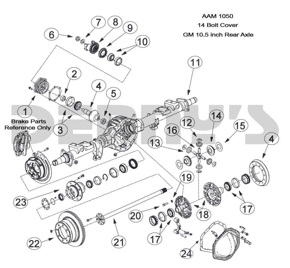chevy truck front end diagram aam 10 5 inch 14 bolt rear end axle parts for american axle rear  aam 10 5 inch 14 bolt rear end axle
