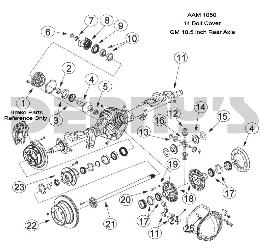 Aam 10 5 Inch 14 Bolt Rear End Axle Parts For American Axle Rear End In 1974 To 2016 Chevy Gmc