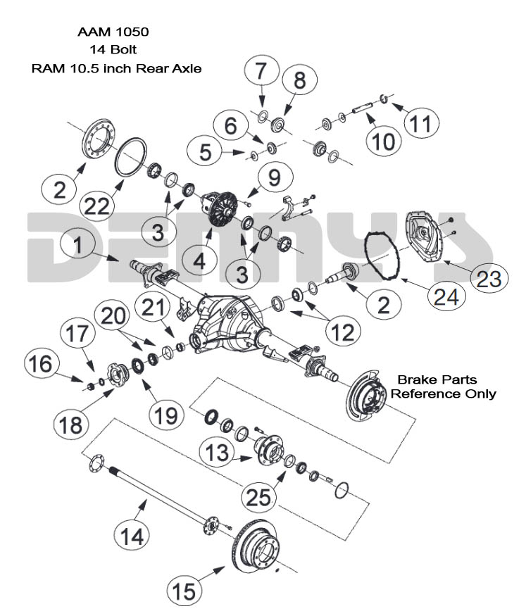 AAM 10 5 inch 14 bolt rear end axle parts for American Axle
