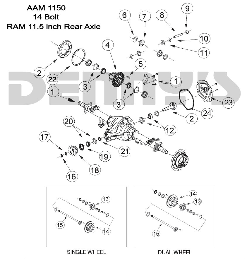 AAM 11 5 inch 14 bolt rear end axle parts for American Axle