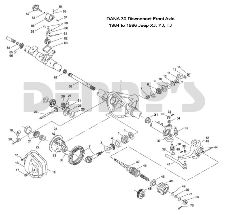Jeep  U0026gt  Front Axles And Related Parts  U0026gt  Dana 30 - Disconnect Front