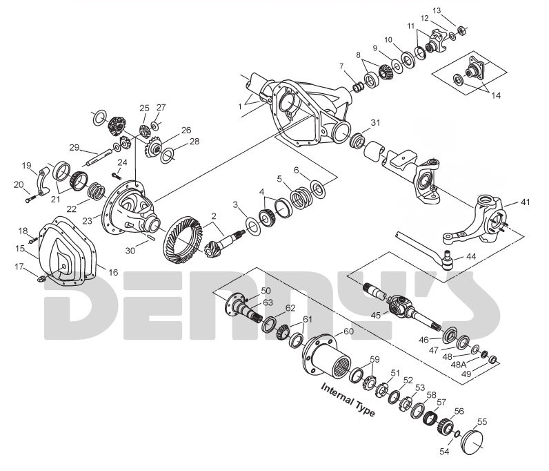 1966 to 1971 Ford U-100 Bronco Dana 30 front axle exploded view at Denny's Driveshafts
