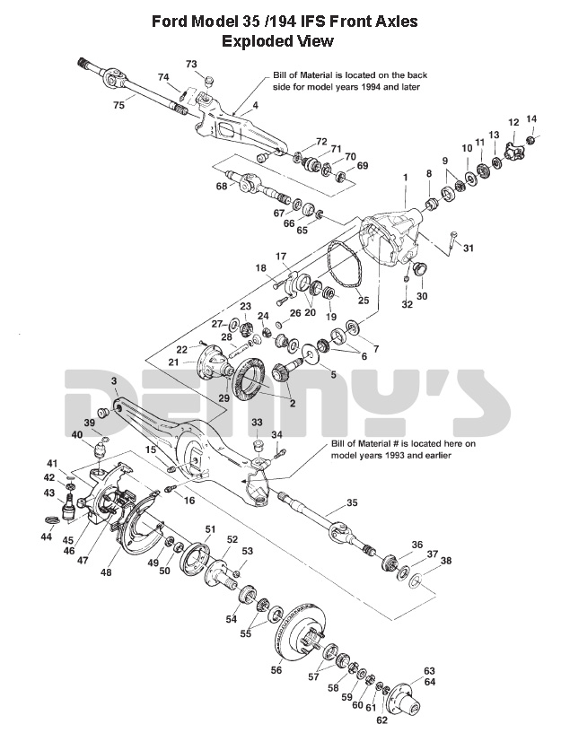 dana 35 ifs front axle parts exploded view at denny's driveshafts