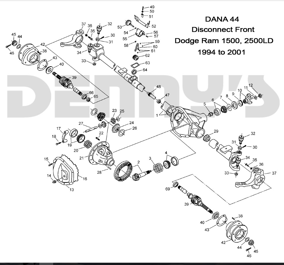 dodge dana 44 disconnect front axle parts for 94 to 02 dodge ram 4x4 Dodge Caravan Front End Schematic denny\u0027s driveshafts exploded view 1999 to 2001 dodge ram 1500, 2500ld with dana 44 disconnect