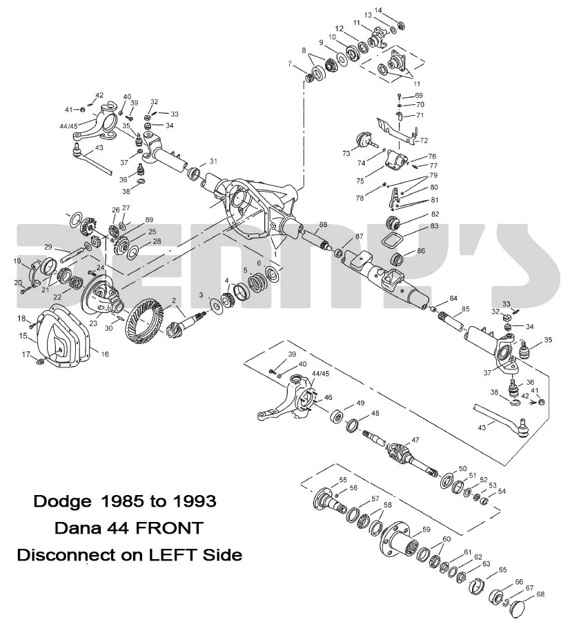 DODGE DANA 44 DISCONNECT Front axle parts for DODGE W150, w200, w250 4X4Denny's Driveshafts