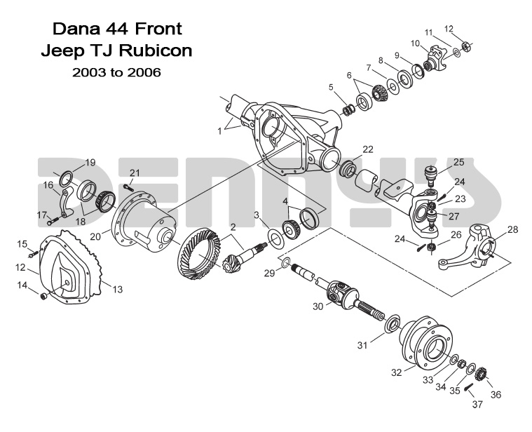 Jeep  U0026gt  Front Axles And Related Parts  U0026gt  Dana 44 Front