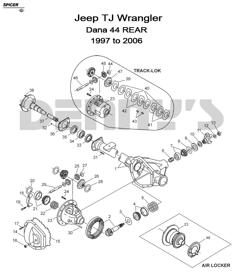 jeep u003e rear axle diff parts u003e dana 44 rear jeep tj 1997 to 2006 rh dennysdriveshaft com jeep rear end diagram jeep rear end diagram