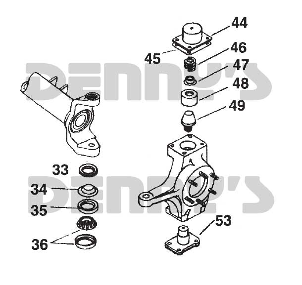 Exploded view of Dana 60 steering knuckle king pin parts at Denny's Driveshafts