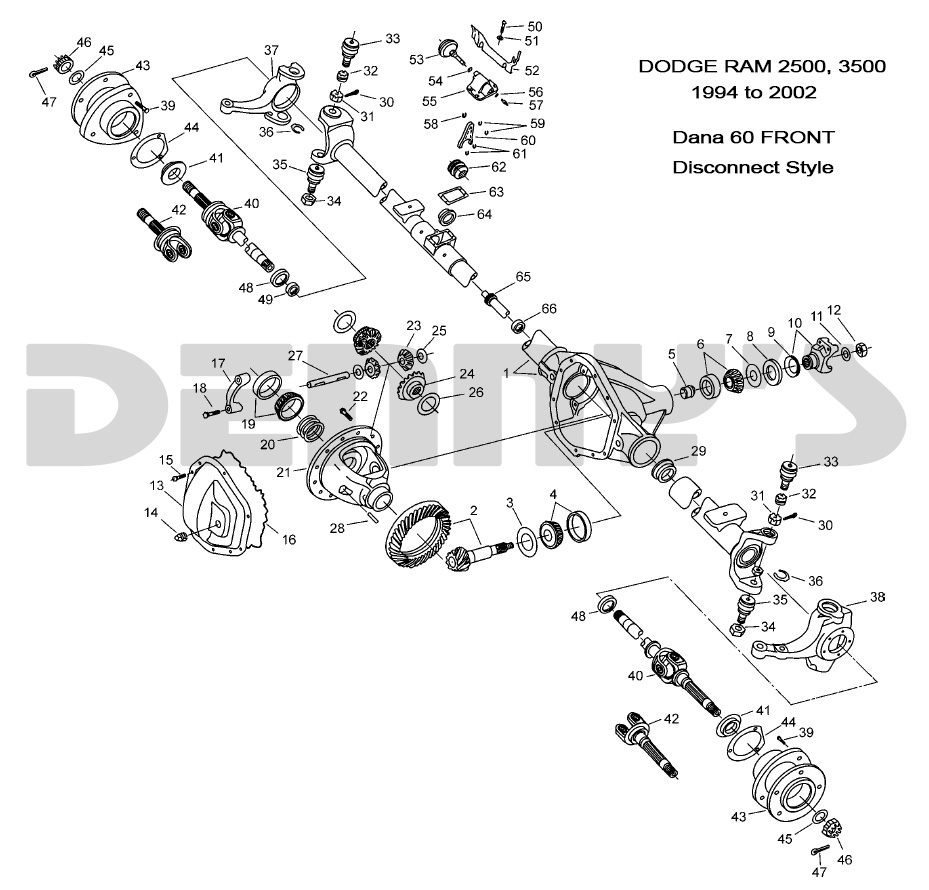 Tremendous Dodge Dana 60 Disconnect Front Axle Parts For 1994 To 2002 Dodge Ram Wiring 101 Akebretraxxcnl