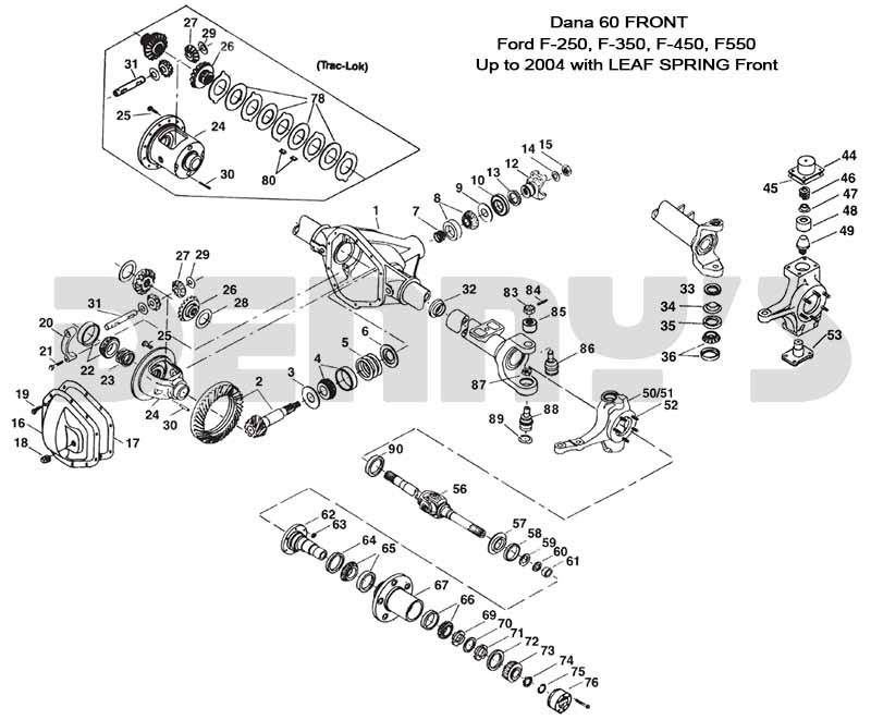 2001 f250 front axle diagram