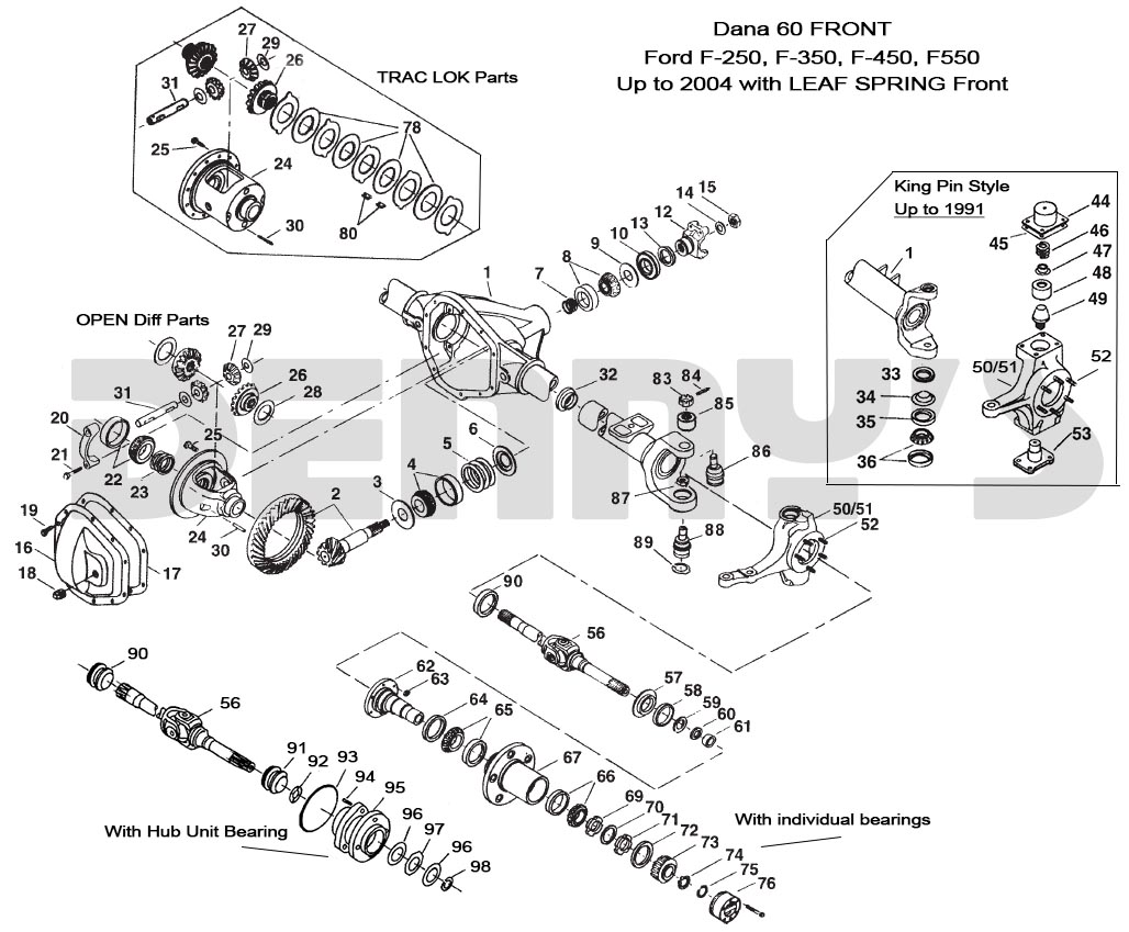 dana 60 front axle parts breakdown