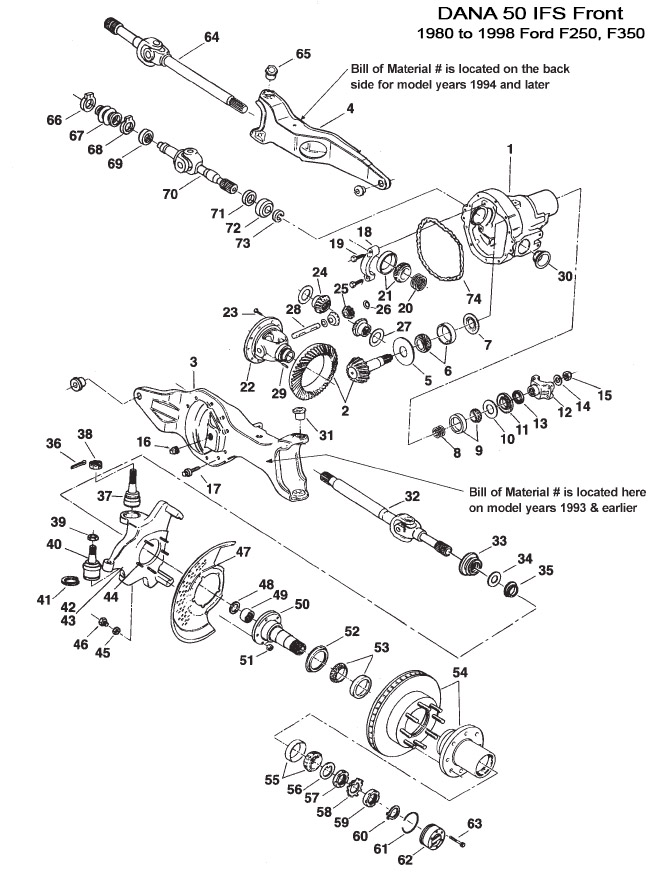 2004 Ford F350 Front Axle Parts Diagram