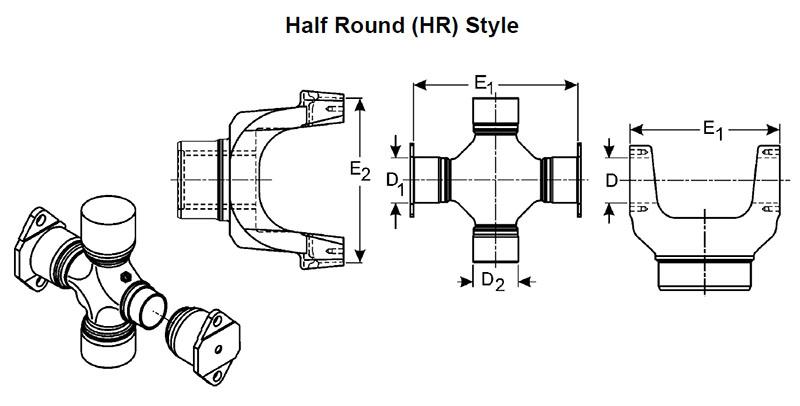 Dana Spicer 5 677x Universal Joint 1760 Series Half Round Style