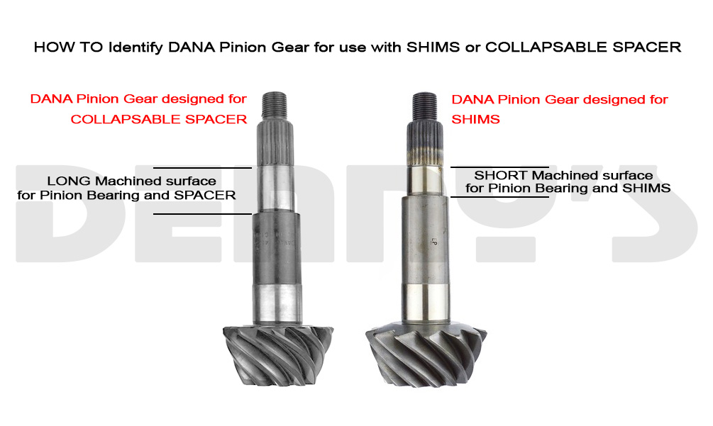 How to identify DANA Pinion Gear for use with SHIMS or COLLAPSIBLE SPACER