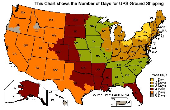 Denny's Driveshafts UPS Ground Delivery Day Chart