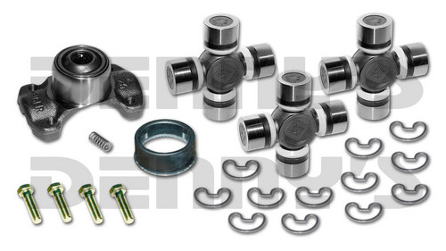 Jeep CV Rebuild Kit 1310 series includes Spicer 211544X Centering Yoke and (3) 5-1310X U-Joints (1) 2-86-418 Rubber Boot NON GREASABLE