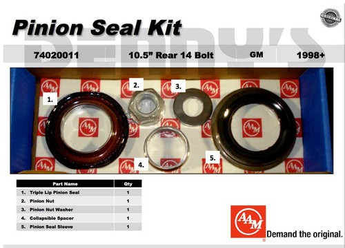 AAM 74020011 - PINION SEAL KIT fits 1998 to 2012 CHEVY and GMC with 10.5 inch FULL FLOATER REAR Axle
